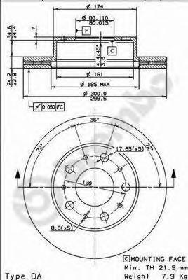 Диск тормозной Brembo, передний, вентилируемый, 2 шт. 09.8932.1009.8932.10