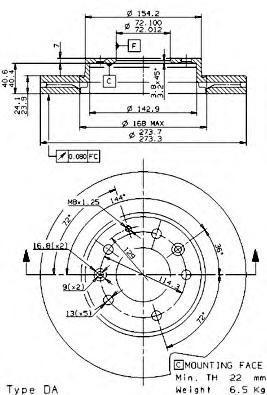 Диск тормозной Brembo, передний, 2 шт. 09.9585.1409.9585.14