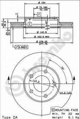 Диск тормозной Brembo, передний, 2 шт. 09.8953.1009.8953.10