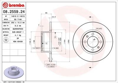 Диск тормозной Brembo, передний, 2 шт. 08.2559.2408.2559.24