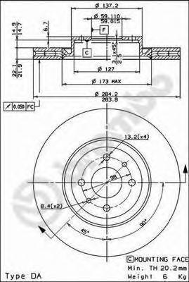 Диск тормозной Brembo, передний, вентилируемый, 2 шт. 09.4939.1409.4939.14