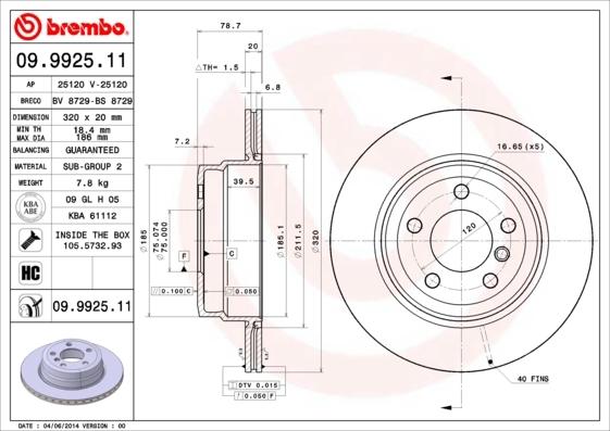 Диск тормозной Brembo, задний, 2 шт. 09.9925.1109.9925.11