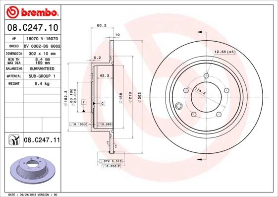 Диск тормозной Brembo, задний. 08.C247.1108.C247.11