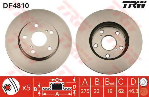 Диск тормозной Trw, 2 шт. DF4810DF4810