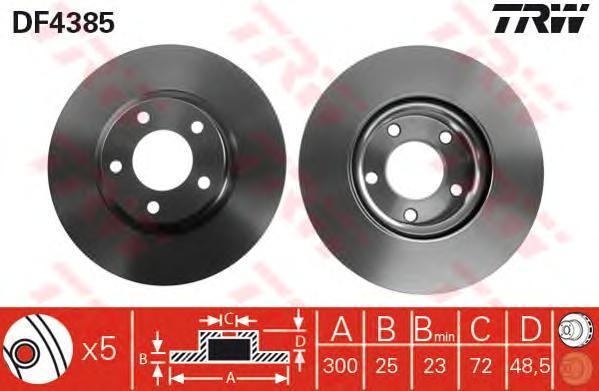 Диск тормозной Trw, 2 шт. DF4385DF4385