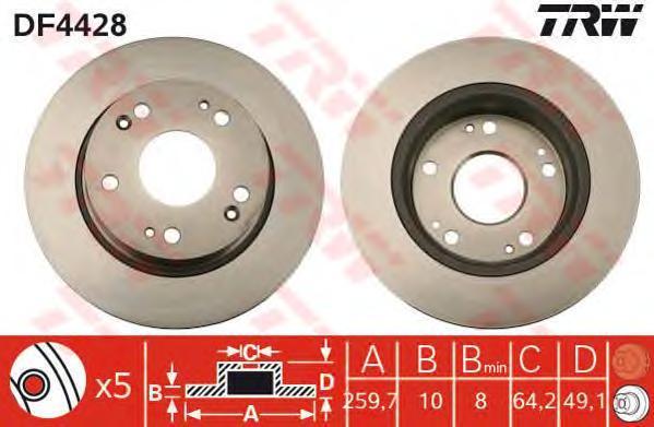 Диск тормозной Trw, 2 шт. DF4428DF4428