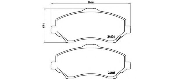 Колодки тормозные дисковые Brembo, комплект. P11022P11022
