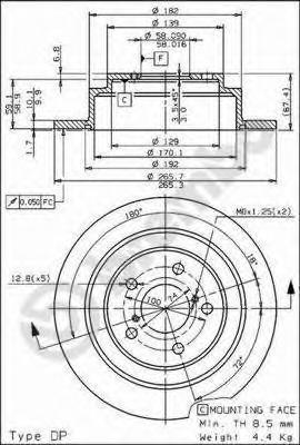 Диск тормозной Brembo, задний, 2 шт. 08.6897.1408.6897.14
