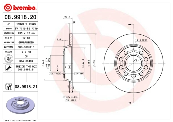 Диск тормозной Brembo, задний, 2 шт. 08.9918.2008.9918.20