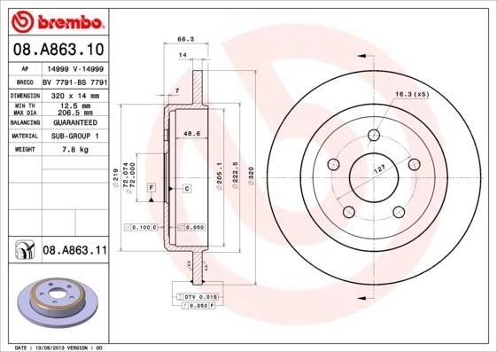 Диск тормозной Brembo, задний, 2 шт. 08.A863.1008.A863.10