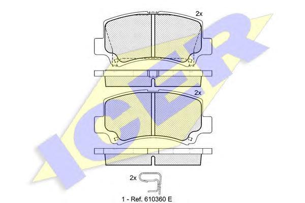 Колодки тормозные дисковые ICER, передние. 181589181589