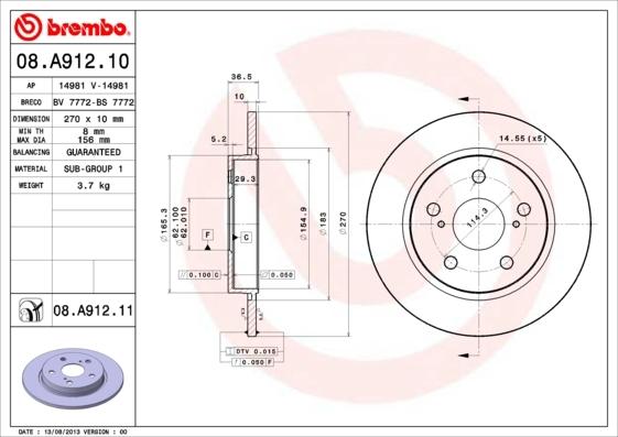Диск тормозной Brembo, задний, 2 шт. 08.A912.1008.A912.10
