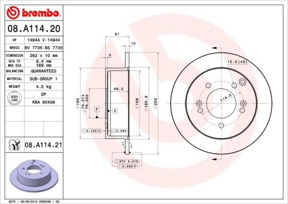 Диск тормозной Brembo, задний, 2 шт. 08.A114.2008.A114.20