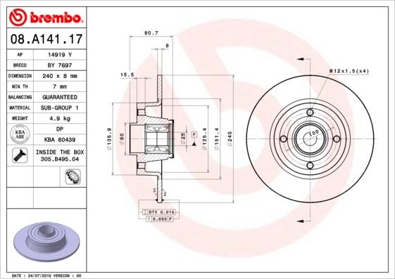 Диск тормозной Brembo, задний. 08.A141.1708.A141.17