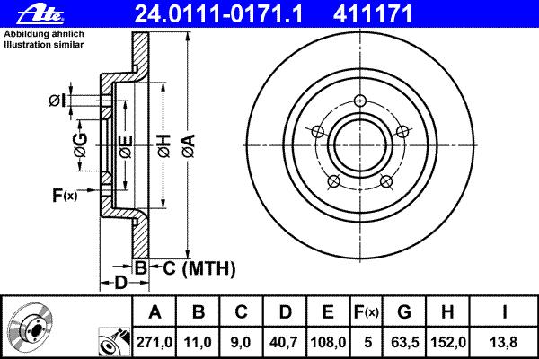 Диск тормозной Ate, задний, 2 шт. 24.0111-0171.124.0111-0171.1