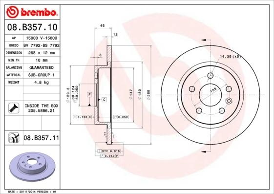 Диск тормозной Brembo, задний, 2 шт. 08.B357.1008.B357.10