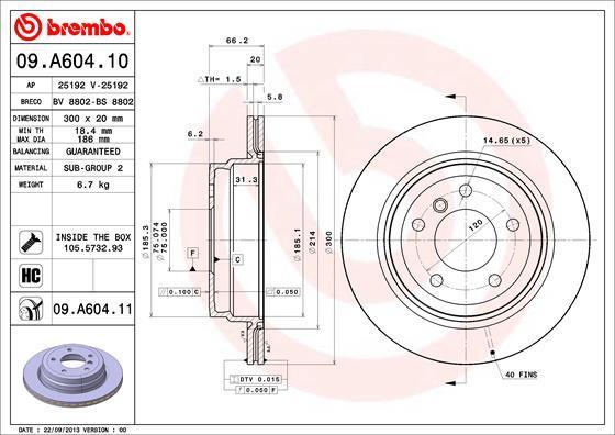 Диск тормозной Brembo, задний, 2 шт. 09.A604.1109.A604.11