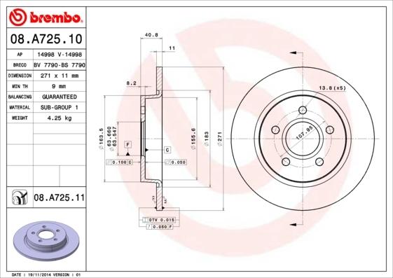 Диск тормозной Brembo, задний, 2 шт. 08.A725.1008.A725.10