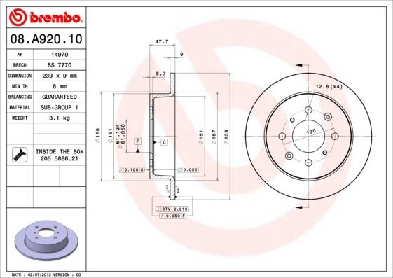 Диск тормозной Brembo, задний, 2 шт. 08.A920.1008.A920.10