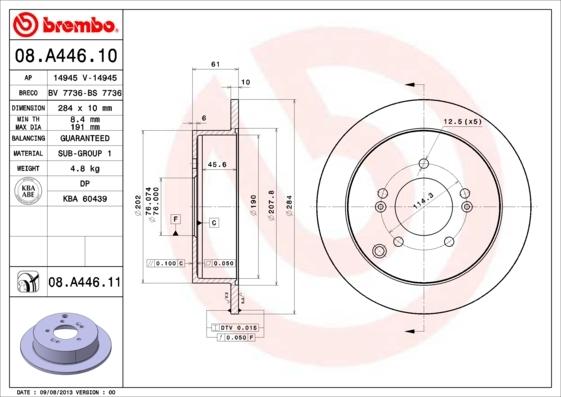 Диск тормозной Brembo, задний, 2 шт. 08.A446.1008.A446.10