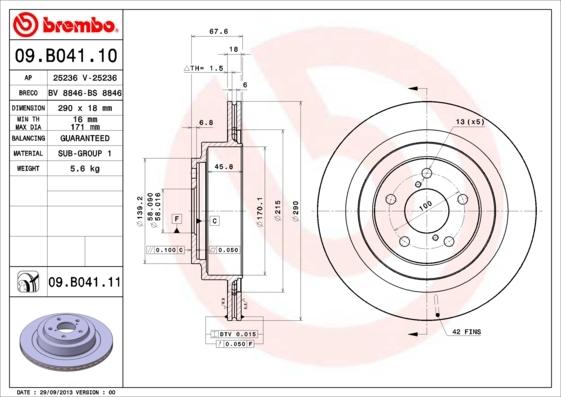 Диск тормозной Brembo, задний, 2 шт. 09.B041.1009.B041.10