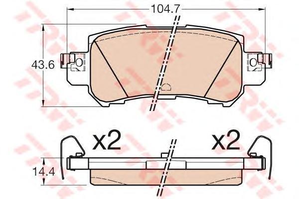 Колодки тормозные дисковые TRW, задние. GDB3539GDB3539