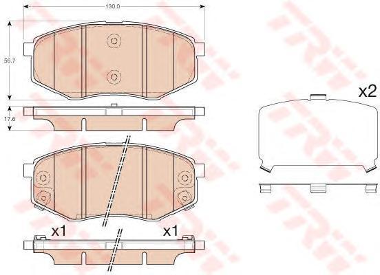 Колодки тормозные дисковые TRW, передние. GDB3553GDB3553