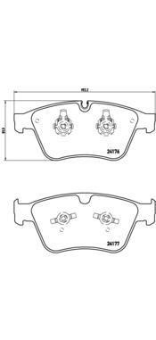 Колодки тормозные дисковые Brembo, передние. P50105P50105