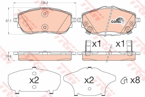 Колодки тормозные дисковые TRW, передние. GDB3598GDB3598