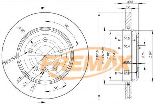 Диск тормозной Fremax, 2 шт. BD-6074BD-6074