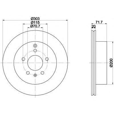 Диск тормозной Behr-Hella, 2 шт. 8DD355114-4118DD355114-411