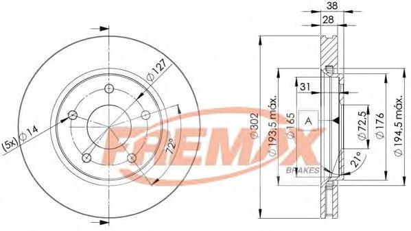 Диск тормозной Fremax, 2 шт. BD-5170BD-5170