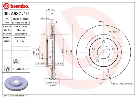 Диск тормозной Brembo, 2 шт. 09.A637.1009.A637.10
