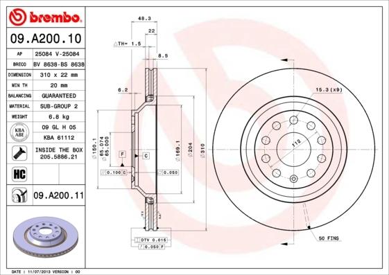 Диск тормозной Brembo, 2 шт. 09.A200.1109.A200.11
