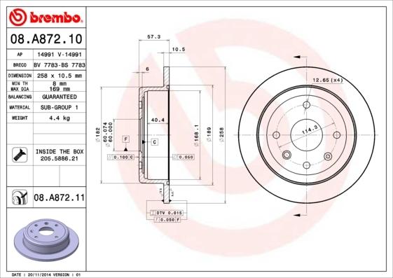 Диск тормозной Brembo, 2 шт. 08.A872.1008.A872.10