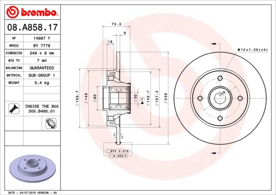 Диск тормозной Brembo. 08.A858.1708.A858.17