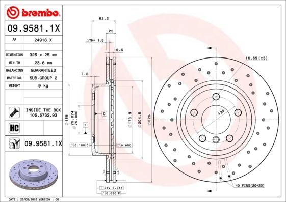 Диск тормозной Brembo, вентилируемый Xtra. 09.9581.1X09.9581.1X