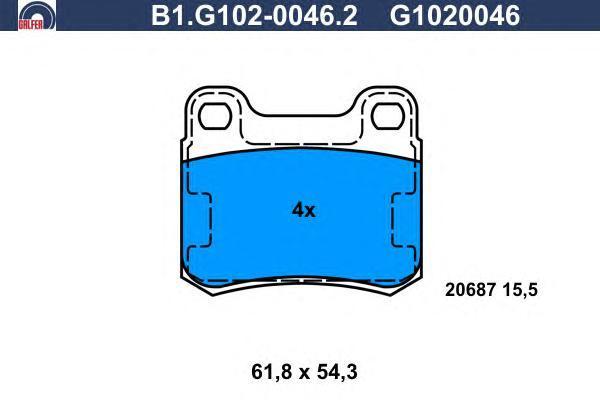 Колодки тормозные дисковые Galfer. B1.G102-0046.2B1.G102-0046.2
