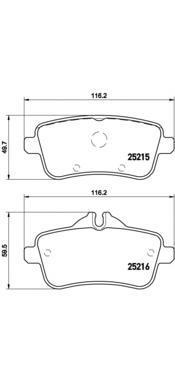 Комплект тормозных колодок Brembo, задние, комплект. P50099P50099