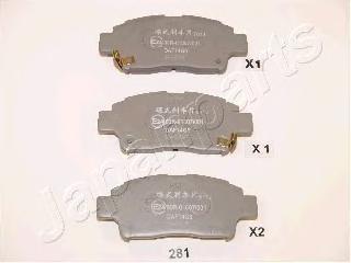 Колодки тормозные дисковые Japanparts. PA-281AFPA-281AF