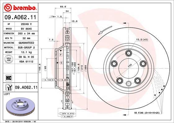 Диск тормозной Brembo. 09.A062.1109.A062.11