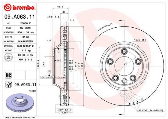 Диск тормозной Brembo. 09.A063.1109.A063.11