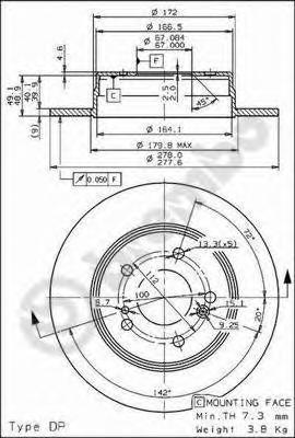 Диск тормозной Brembo, 2 шт. 08.5178.3108.5178.31