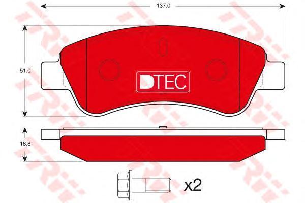 Колодки тормозные дисковые TRW, передние. GDB1463DTEGDB1463DTE