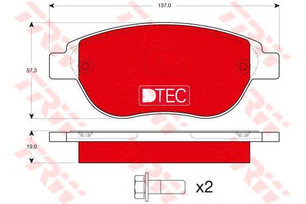 Колодки тормозные дисковые TRW, передние. GDB1464DTEGDB1464DTE