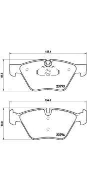 Колодки тормозные дисковые Brembo, передние. P06057P06057
