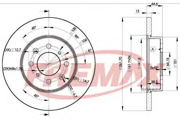 Диск тормозной Fremax, 2 шт. BD-0841BD-0841