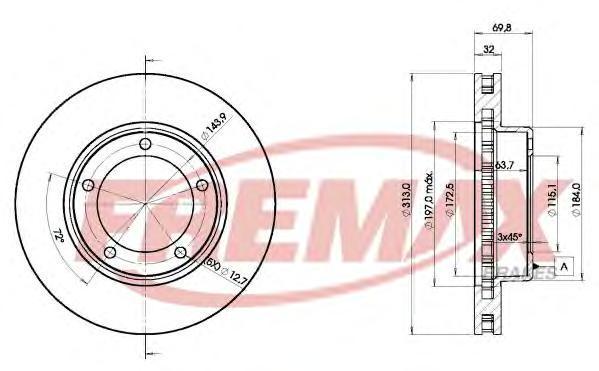 Диск тормозной Fremax, 2 шт. BD-1265BD-1265
