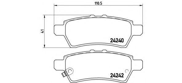 Комплект тормозных колодок Brembo, задние, комплект. P56060P56060