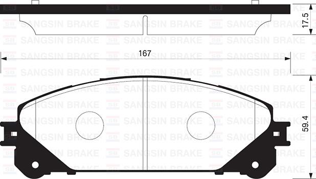 Колодки тормозные дисковые Sangsin, передние. SP2137SP2137
